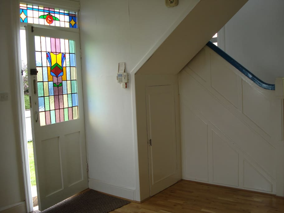 Stained Glass Front Door to large Hall