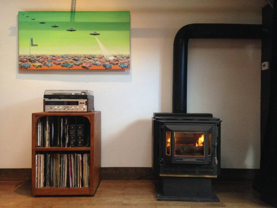 Relax by the fireplace while listening to classic vinyl records.