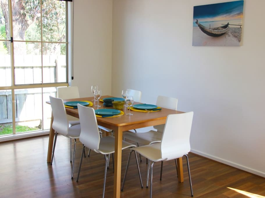 Dining area with extendable dining table to fit everybody comfortably
