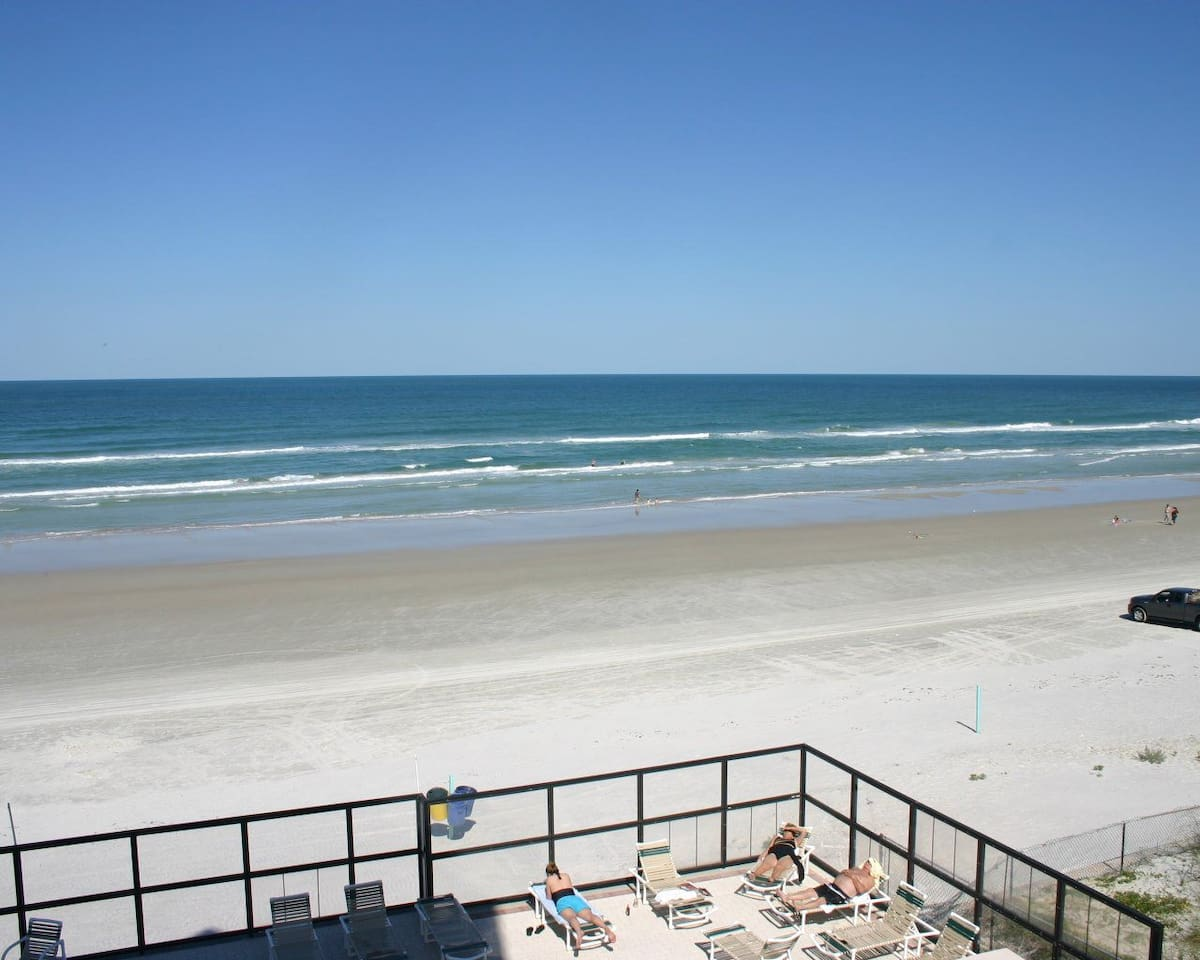 Picture is of beach not from inside condo.