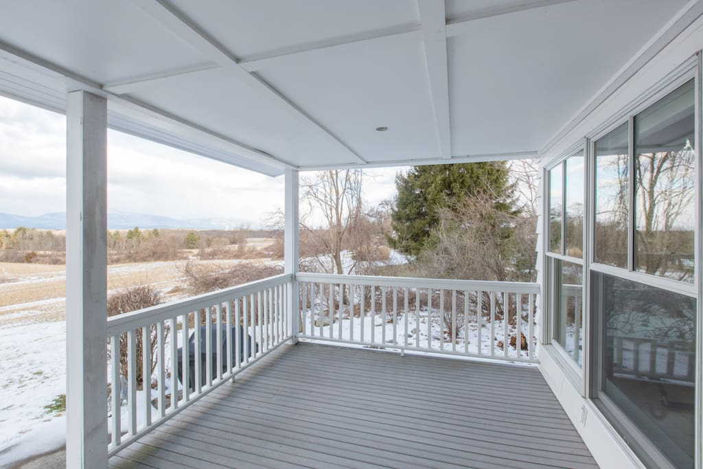 An open area on the back porch with a view to the Northwest.