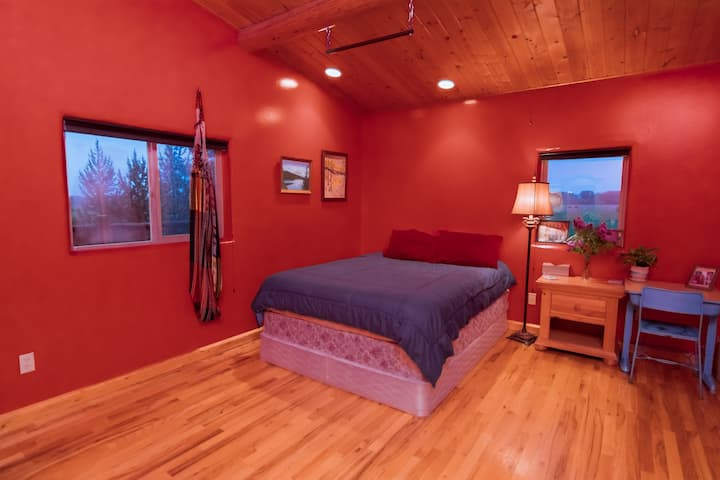 Spacious Red Room w/ a View