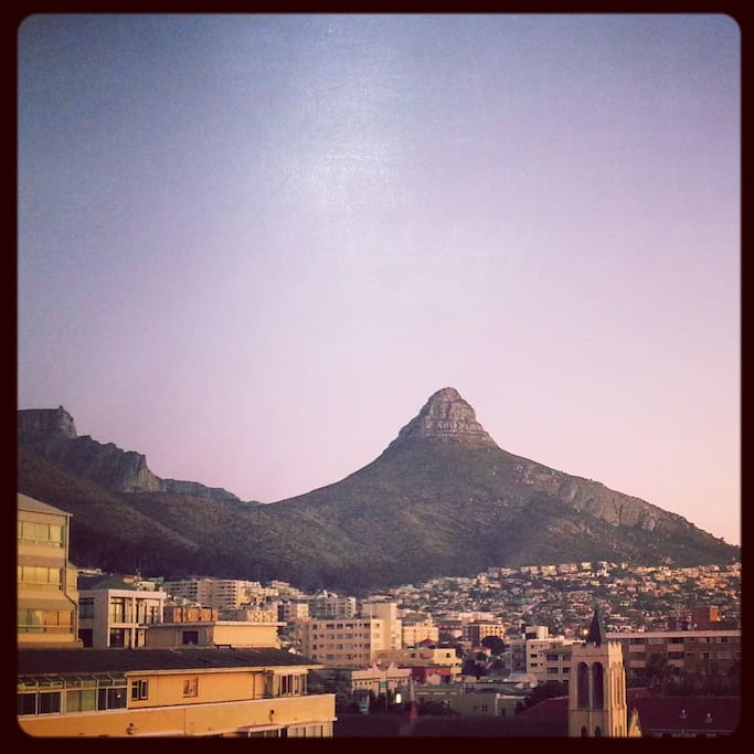 View from the kitchen, Lions Head and Table Mountain.