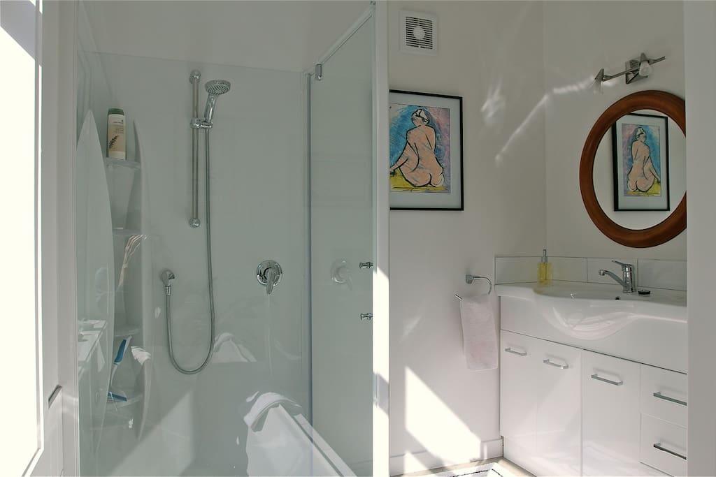 Sunny bathroom with garden views.