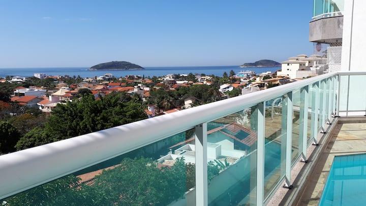 Apartamento com linda vista para o mar.