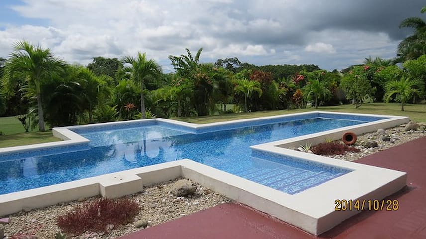 Pool in garden with golf course behind