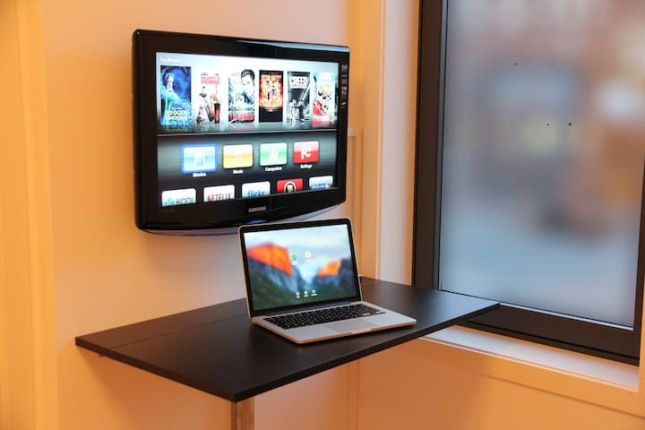 private LCD TV /    Laptop Friendly Workspace