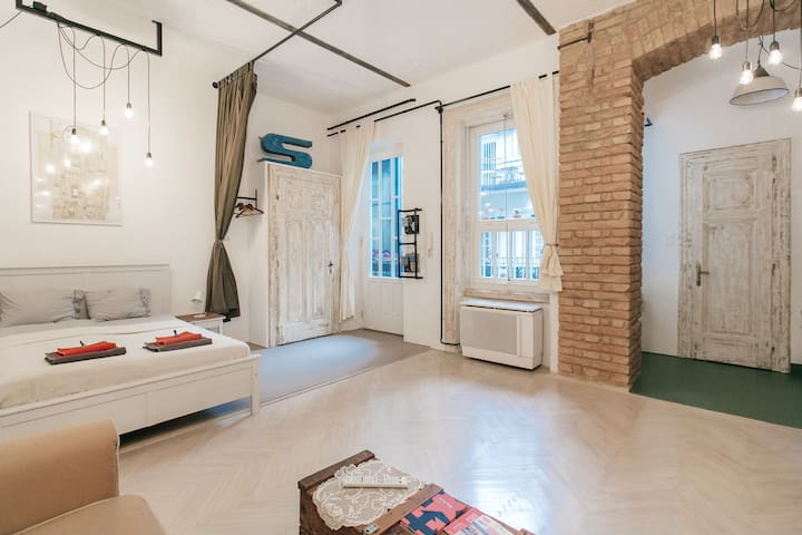 Our studio apartment in the nicest little street of Budapest downtown centre