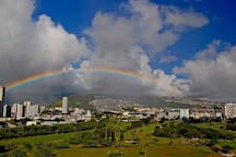 Enjoy the Rainbows over Manoa Mountains and the Ala Wai Golf Course