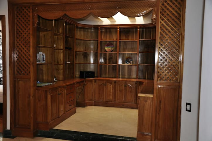 Library and all penthouse timberwork in Teak