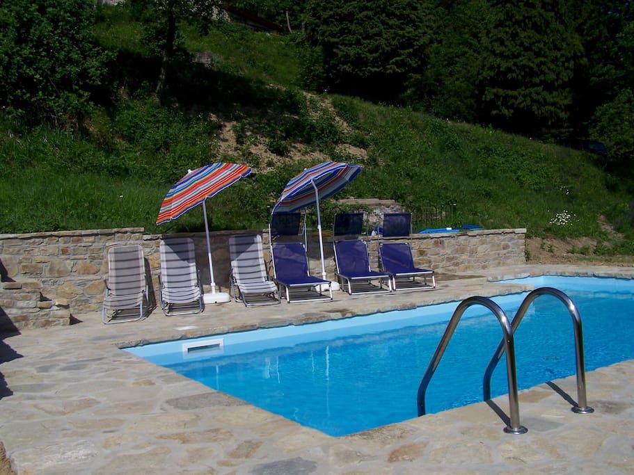 heerlijk zwembad, gevuld met bronwater.