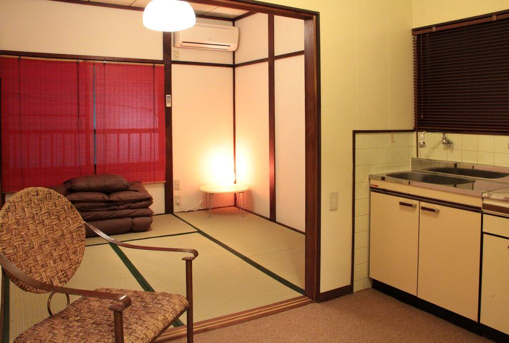 Each room has a private kitchen with utensils available.