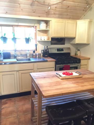 Kitchen, double sink and gas range