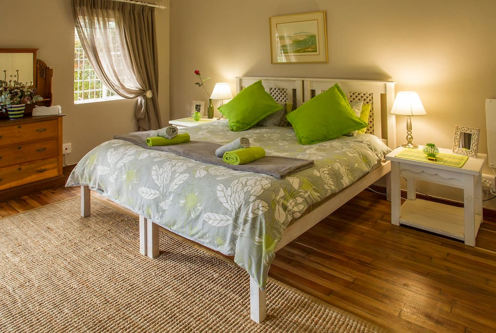 Main bedroom with blackwood flooring