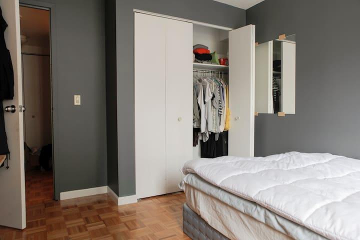 bedroom closet, plenty of room to hang clothes.