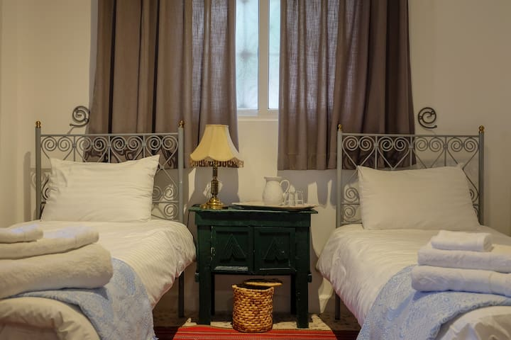 The beds can be made with two twin beds or a queen size bed