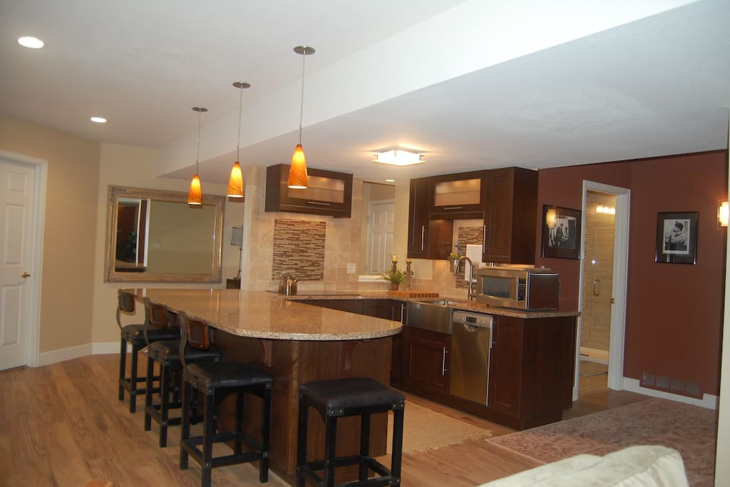kitchen with dishwasher, stove top refrigerator and room for 5 at the counter
