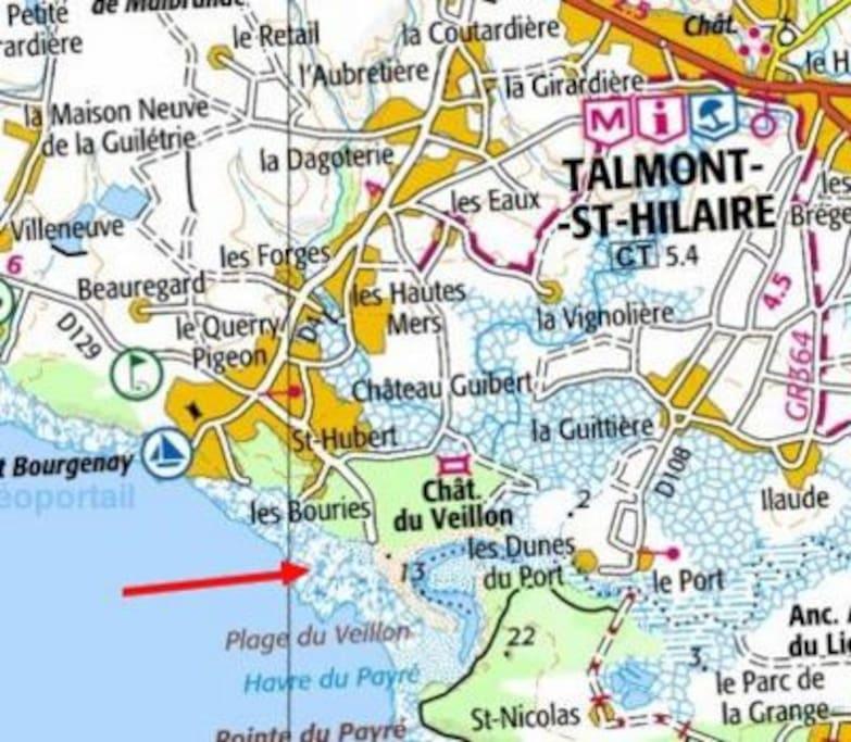 situation de la plage (2 km de la villa)