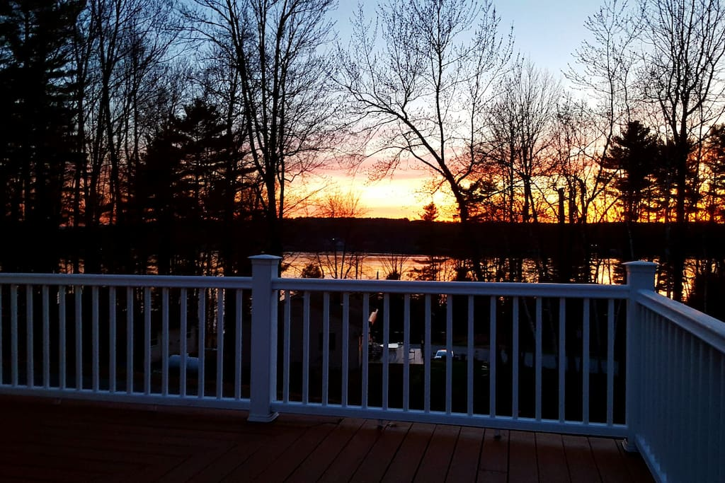 Sunset view of Lake Winnipesaukee from the deck