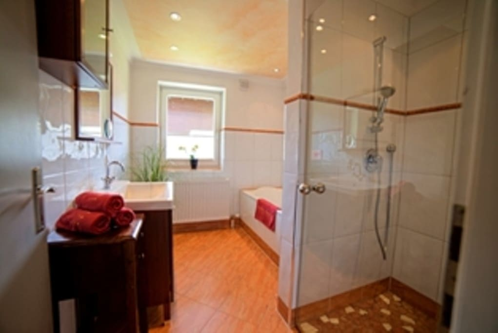 Bad mit Badewanne und Dusche, WC separat, Hand/Badetücher sowie Seife, Kosmetiktücher, Toilettenpapier inklusive;