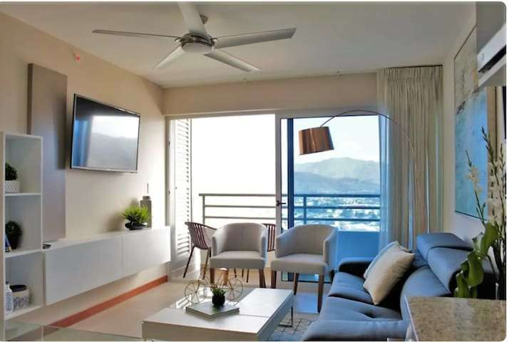 Living Room with full-size Sofa-bed. Hi-speed fiber optic internet throughout condo.