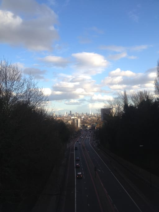 View of central London from nearby bridge.