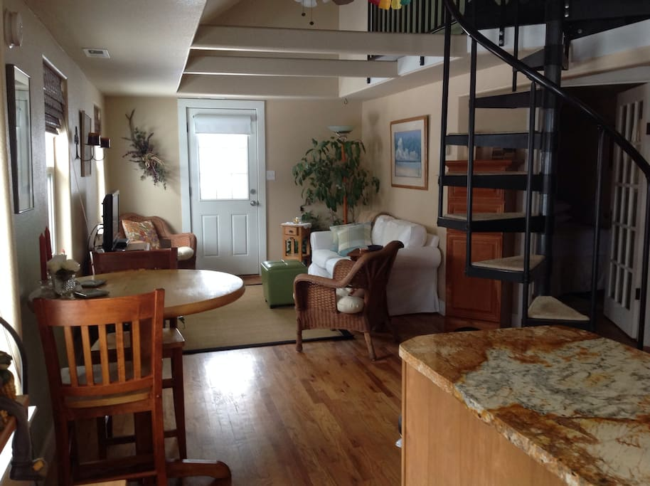 Open floor plan and lots of windows makes the cottage spacious and welcoming.