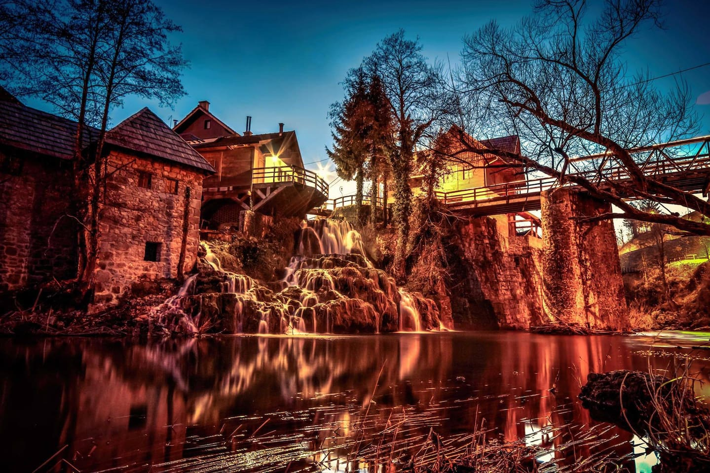 Rastoke Falls - historical water mill village and a protected area of the town Slunj known for the flows of the rivers, Slunjcica into the river Korana, whose flows create a chain of waterfalls, rapids, pools and cascades.  This fairytale village is less than 10 minutes walk away.