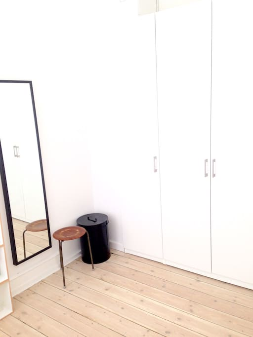 The bedroom mirror and spacious closet for you to use