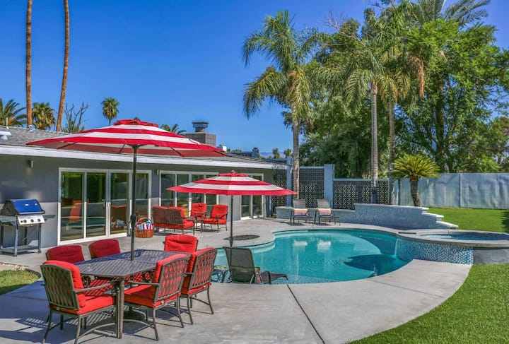 Retro style dog-friendly home w/ private pool & hot tub, firepit, & on-site golf