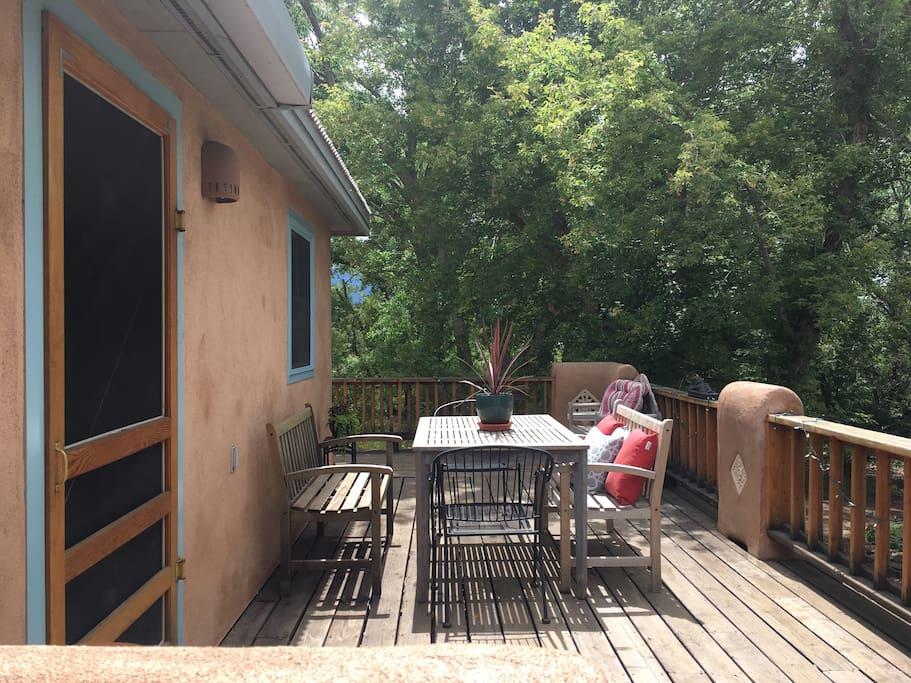 Enjoy the sunny deck.