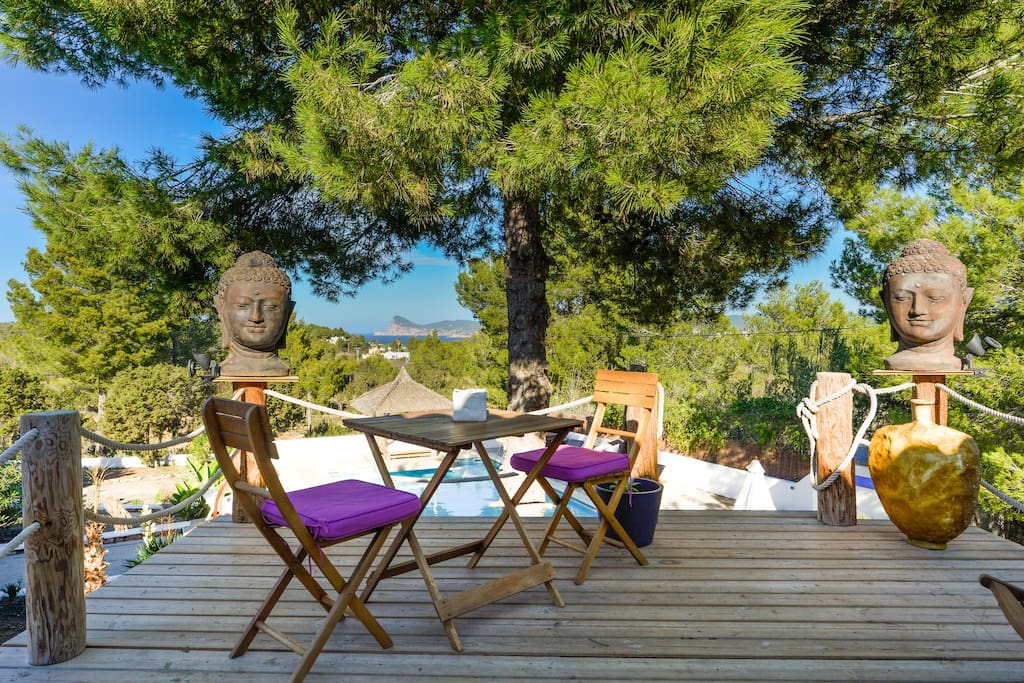 awesome roof terrace with wonderful sea view, energy spot, natural shadow places under trees