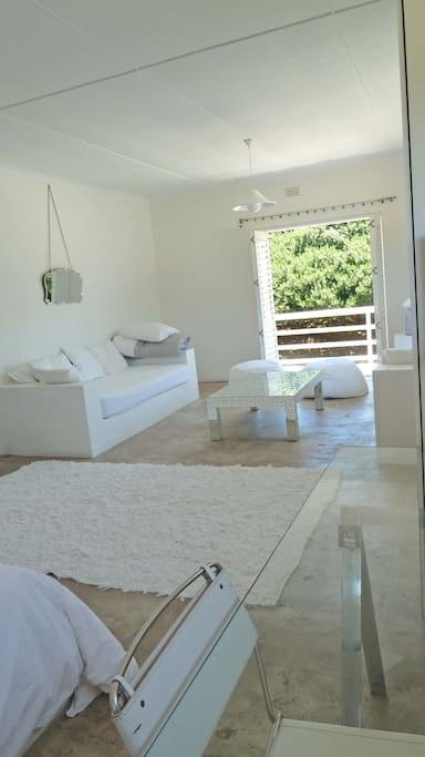 White Suite: showing one of the single beds which can also be used as day beds/sofas