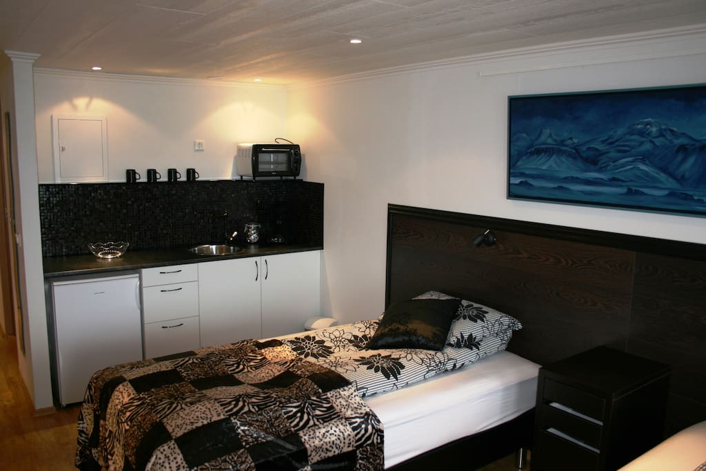 Twin room with private bathroom and small kitchen