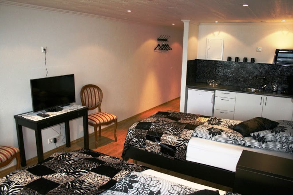 Twin room with private bathroom and tv.