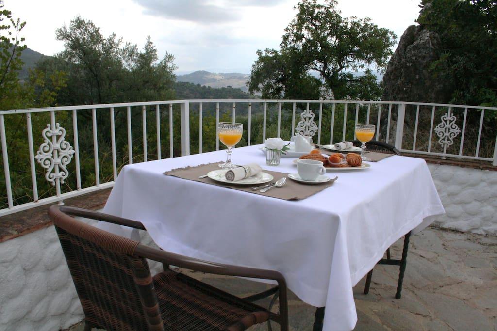Terraza privada con vistas a la Sierra de Grazalema
