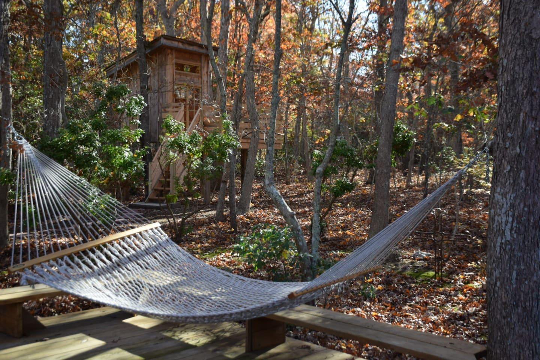 Swing in hammock or soak in peace of treehouse