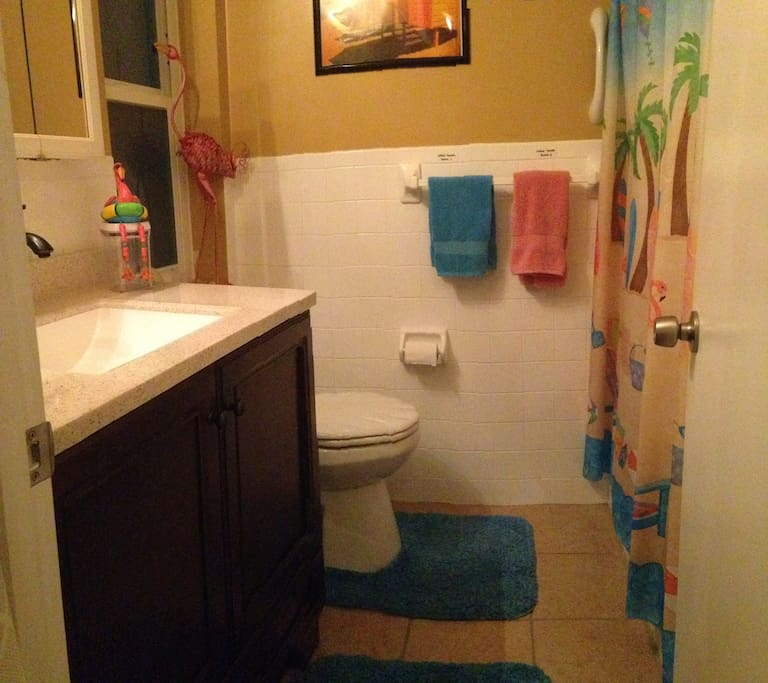 Upgraded bathroom (June 2016) is cleaned with steam and non-chemical cleaners free of irritating odors. Shower features chlorine filter.
