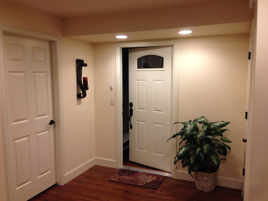 Entrance to your room, laundry room is to the left.
