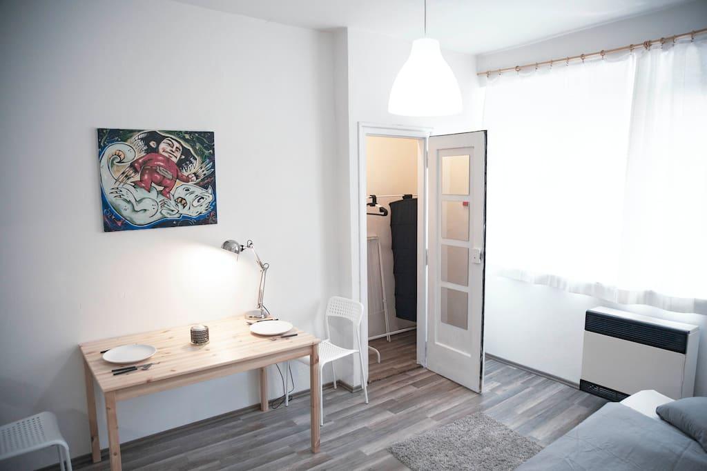 Room with wardrobe.