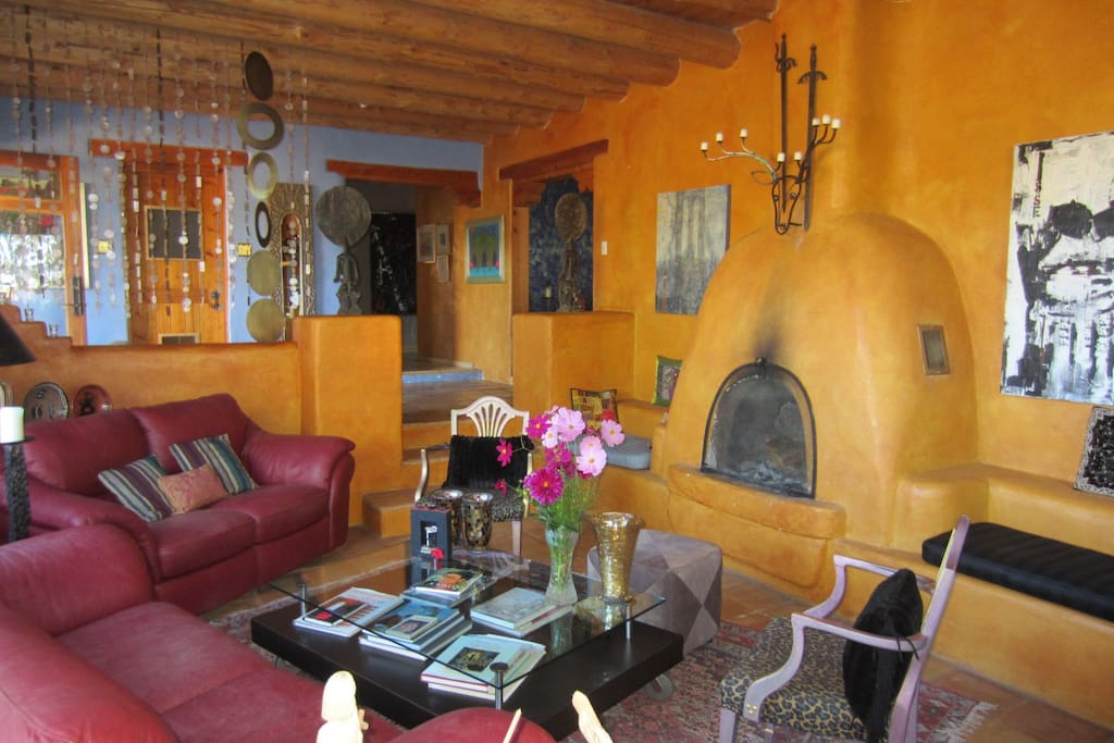 Living Room, Kiva fireplace