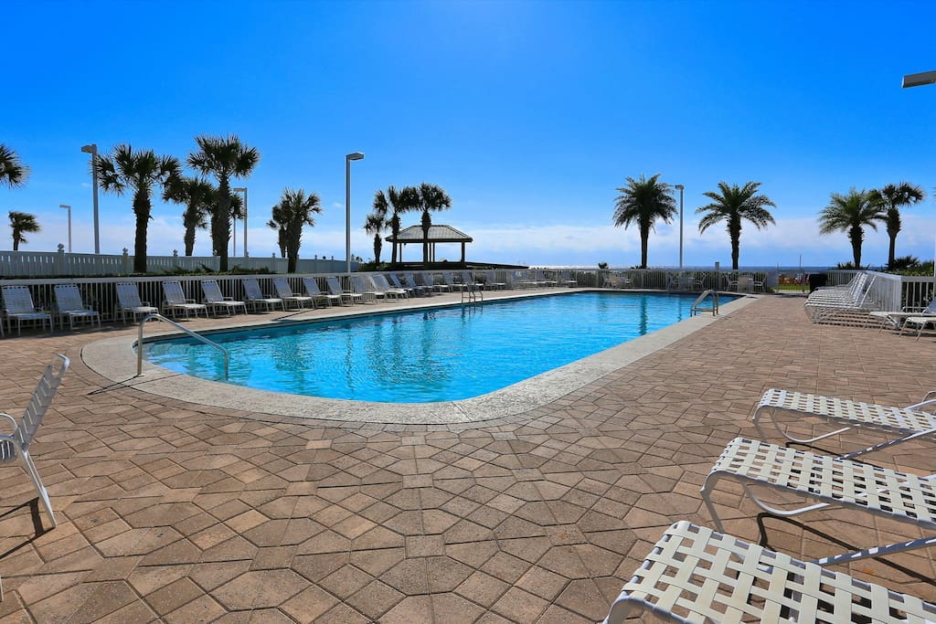 Spend days in the sun by the resort-style pool.
