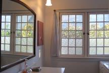 Bright, large bathroom.