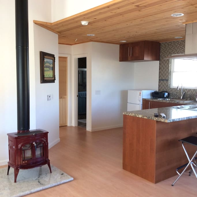 Every unit is furnished with countertop kitchen and cast iron fireplace.