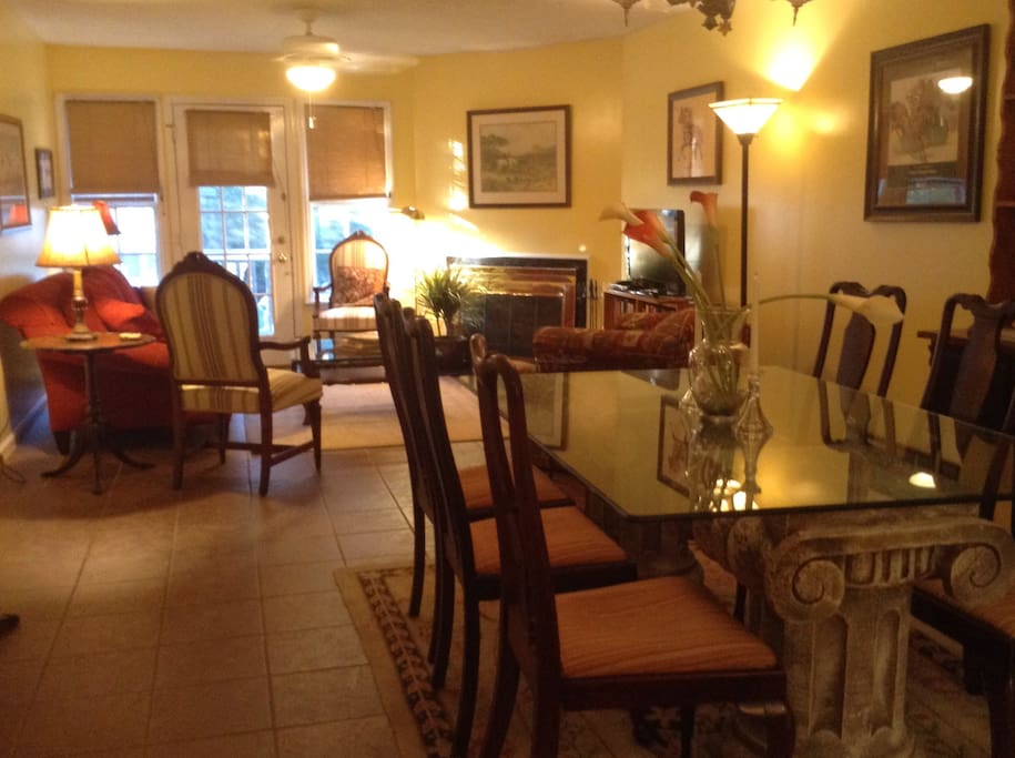 Dining room table seats up to 8 for entertaining