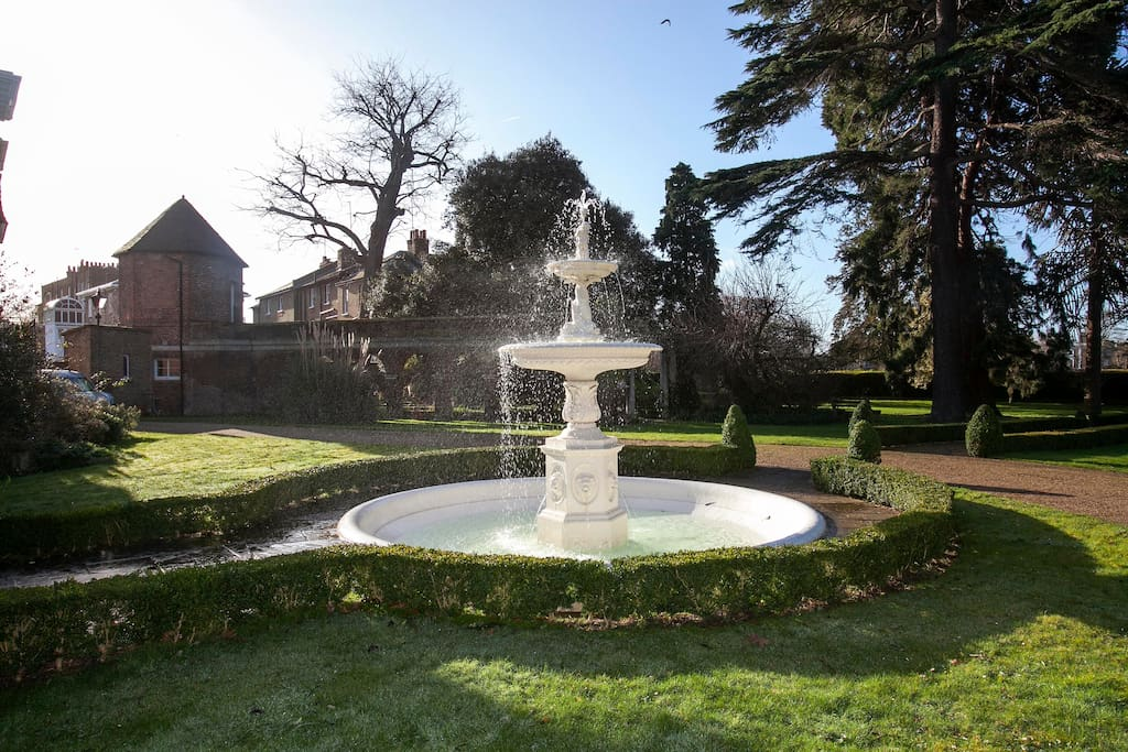 The fountain by the Gazebo in Queensberry House communal gardens.