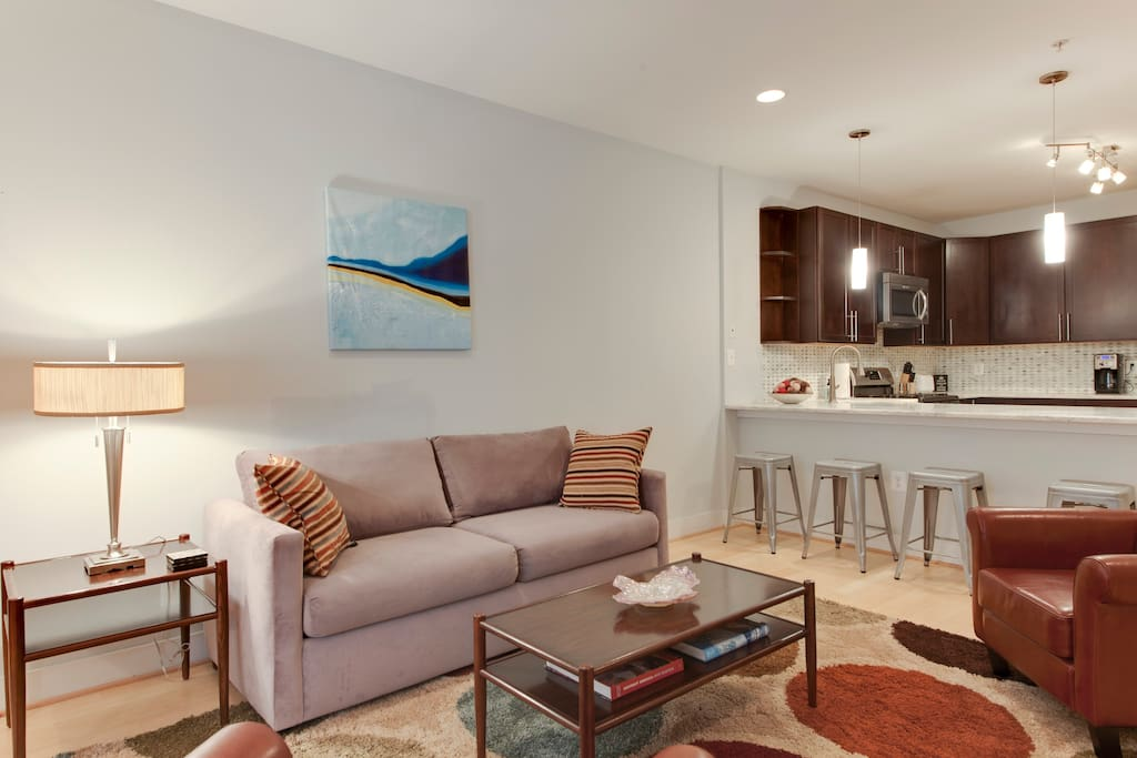 The open floor plan provides plenty of space to relax or entertain.