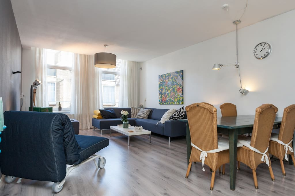 A luxurious two bedroom apartment Rotterdam center   Another view of the grand living room enough space up to 6 people.