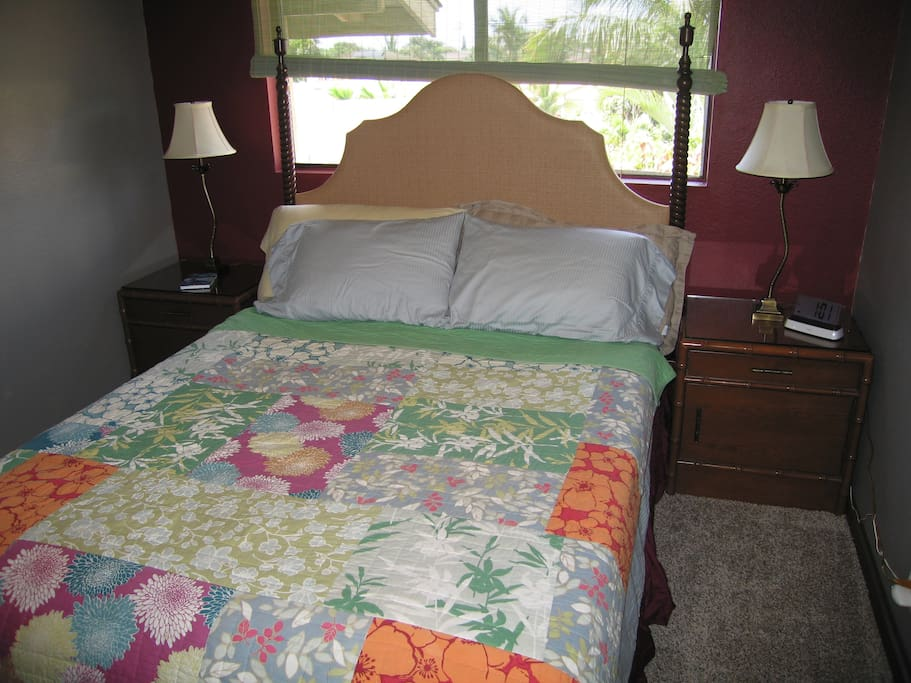 Brand new, plush carpet for your bedroom just installed in November, 2014!  Added a new headboard, lamps, and side tables, too!