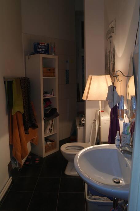 Unser gemütliches Bad mit origineller Lampe und Dekoration/ Our cosy bathroom with an original light and decoration / Notre salle de bain avec son éclairage pour le moins original